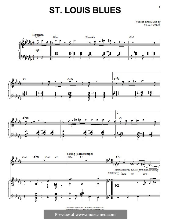 St. Louis Blues: For voice and piano or guitar (Louis Armstrong) by William Christopher Handy