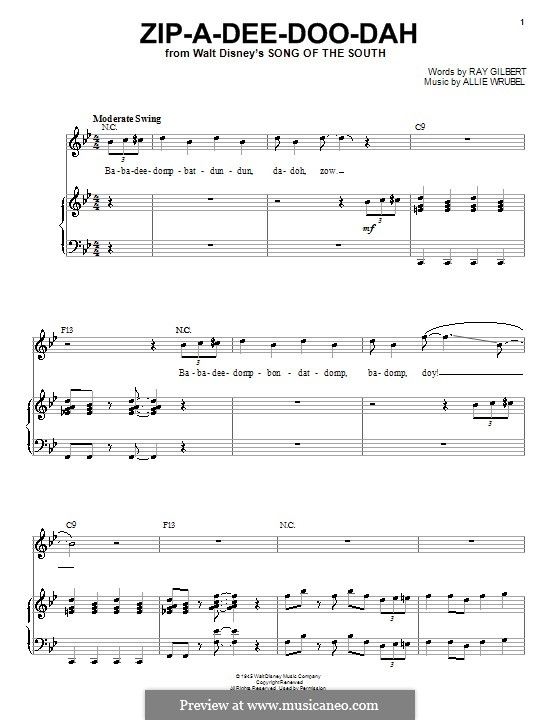 Zip-A-Dee-Doo-Dah: For voice and piano or guitar (Louis Armstrong) by Allie Wrubel