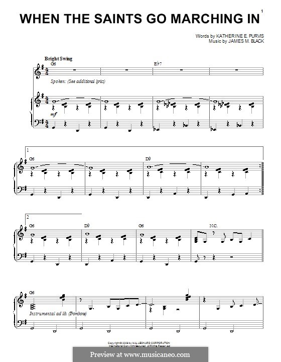 When the Saints Go Marching In: For voice and piano (or guitar) by James Milton Black