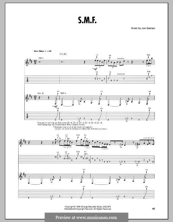 S.M.F.: For guitar with tab by Joe Satriani