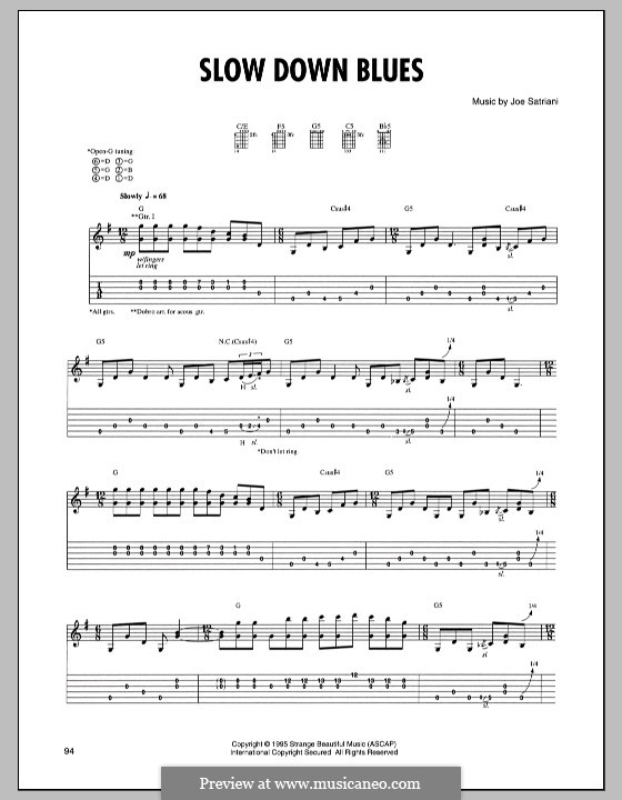 Slow Down Blues: For guitar with tab by Joe Satriani