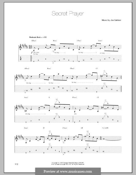 Secret Prayer: For guitar with tab by Joe Satriani