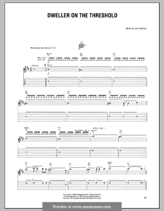 Dweller on the Threshold: For guitar with tab by Joe Satriani