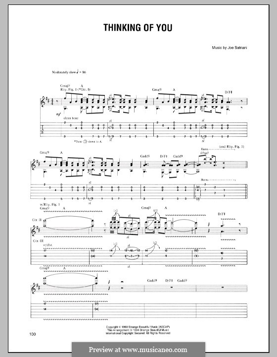 Thinking of You: For guitar with tab by Joe Satriani