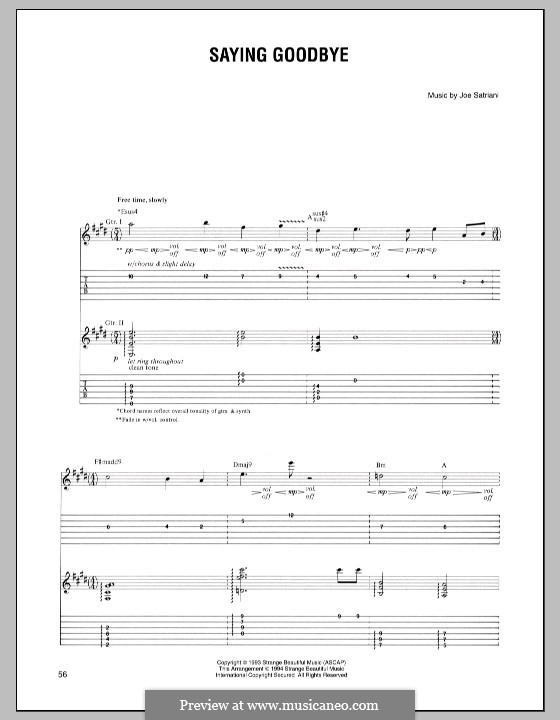 Saying Goodbye: For guitar with tab by Joe Satriani