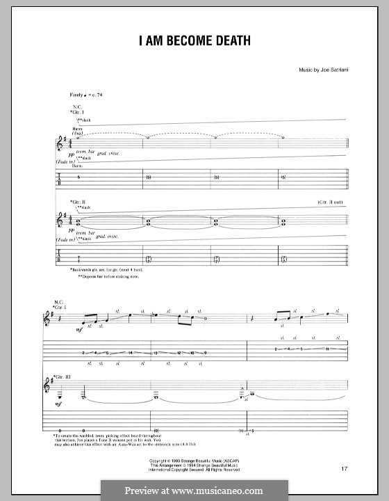 I am Become Death: For guitar with tab by Joe Satriani