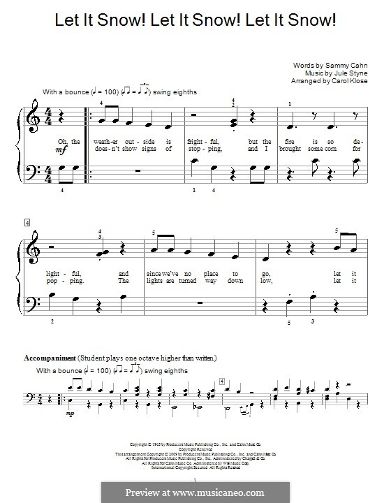 Let It Snow! Let It Snow! Let It Snow!, for Piano: Very easy version (with fingering) by Jule Styne