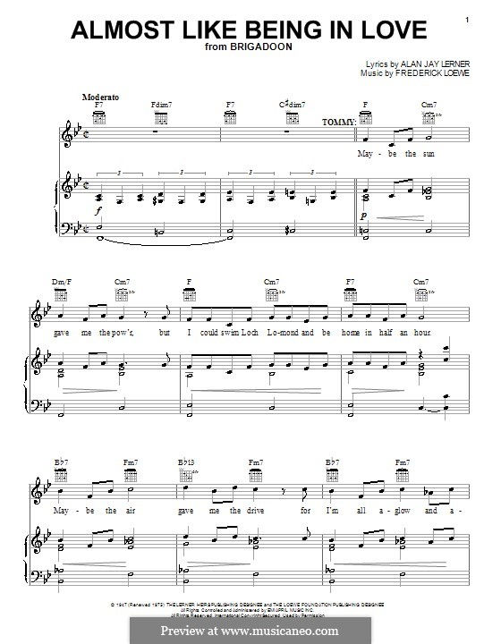 Almost Like Being in Love (Frank Sinatra): For voice and piano (or guitar) by Frederick Loewe