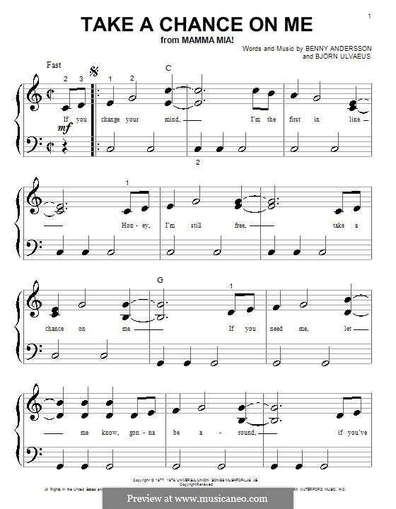 Take a Chance on Me (ABBA): For piano (very easy version) by Benny Andersson, Björn Ulvaeus