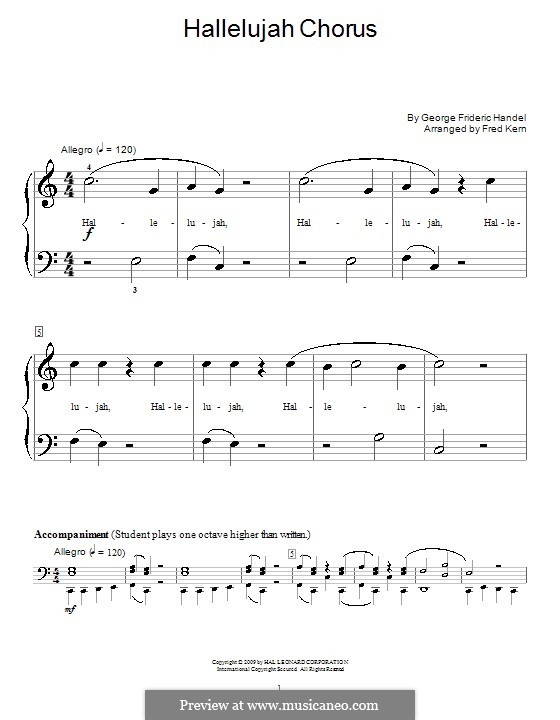 No.44 Hallelujah: For piano (very easy version) by Georg Friedrich Händel