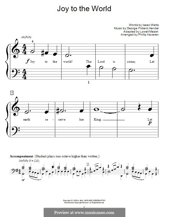 Joy to the World, for Piano: Very easy version by Georg Friedrich Händel