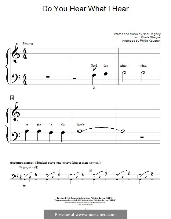 Do You Hear What I Hear, for Piano: Very easy version by Gloria Shayne, Noël Regney