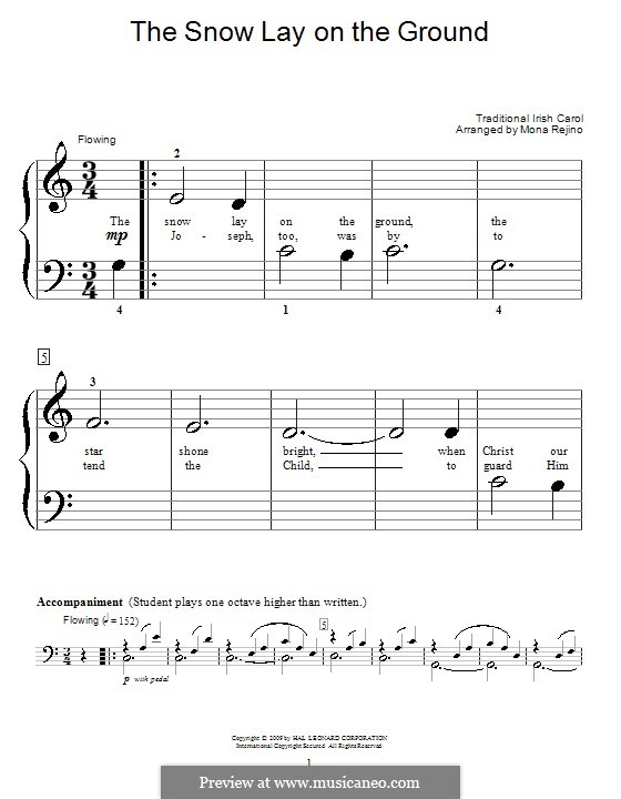 The Snow Lay on the Ground: For piano (very easy version) by folklore