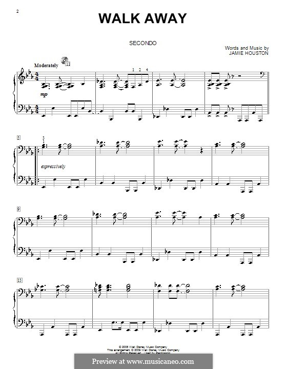 Walk Away (High School Musical 3): For piano four hands by Jamie Houston
