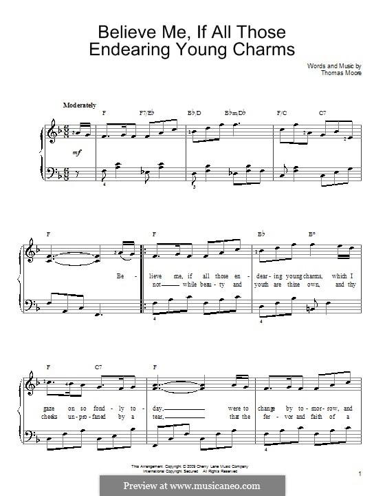 Believe Me, if All Those Endearing Young Charms: For easy piano by folklore