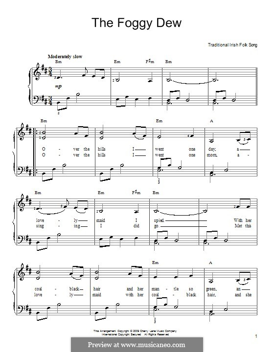 The Foggy Dew: For easy piano by folklore