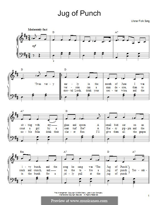 Jug of Punch: For easy piano by folklore