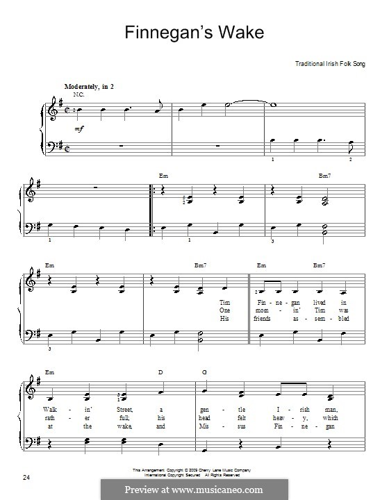 Finnegan's Wake: For easy piano by folklore