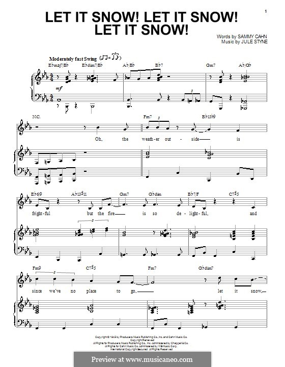 Let It Snow! Let It Snow! Let It Snow!: For voice and piano or guitar (E Flat Major) by Jule Styne