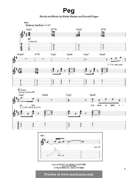 Peg (Steely Dan): For guitar with tab by Donald Fagen, Walter Becker