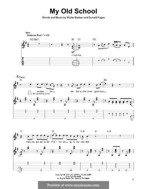 My Old School (Steely Dan): For guitar with tab by Donald Fagen, Walter Becker