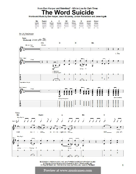 The Word Suicide (Ben Harper and Relentless7): For guitar with tab by Jason Mozersky, Jesse Ingalls, Jordan Richardson