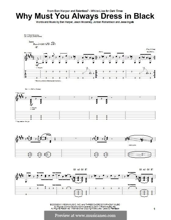 Why Must You Always Dress in Black (Ben Harper and Relentless7): For guitar with tab by Jason Mozersky, Jesse Ingalls, Jordan Richardson