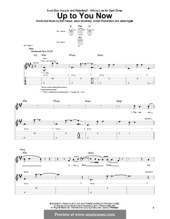 Up to You Now (Ben Harper and Relentless7): For guitar with tab by Jason Mozersky, Jesse Ingalls, Jordan Richardson