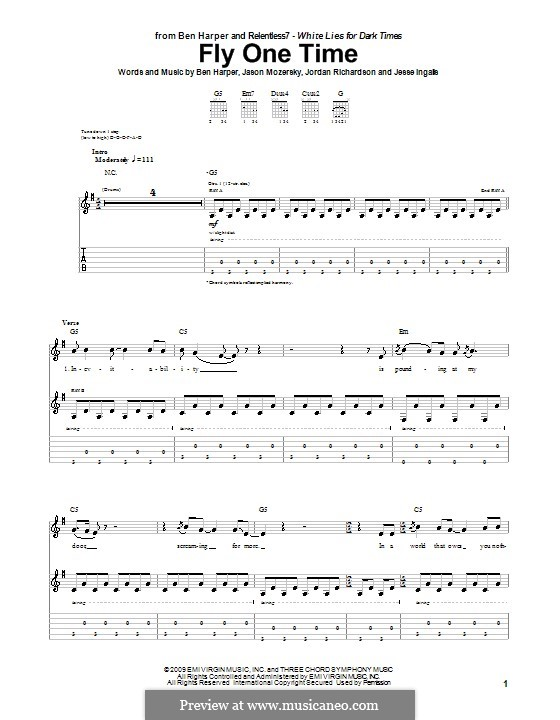 Fly One Time (Ben Harper and Relentless7): For guitar with tab by Jason Mozersky, Jesse Ingalls, Jordan Richardson