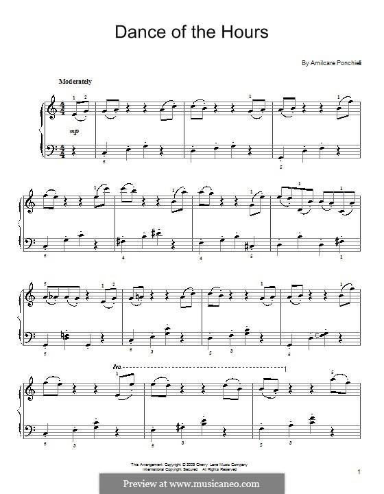 La Gioconda: Dance of the Hours. Version for easy piano by Amilcare Ponchielli