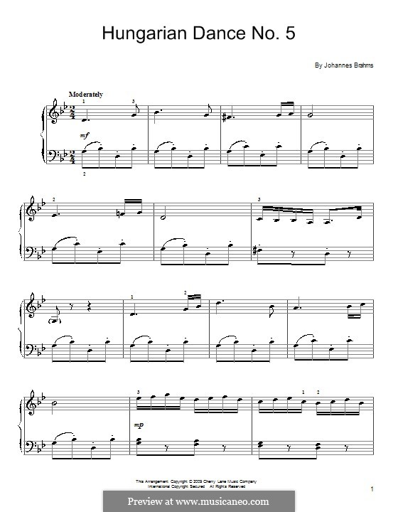 Dance No.5 in F Sharp Minor (Printable scores): For easy piano by Johannes Brahms