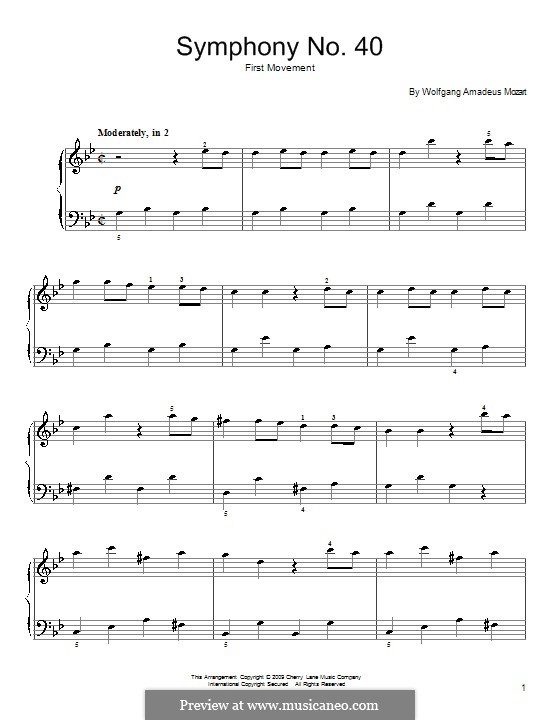 Movement I: Fragment, for piano by Wolfgang Amadeus Mozart