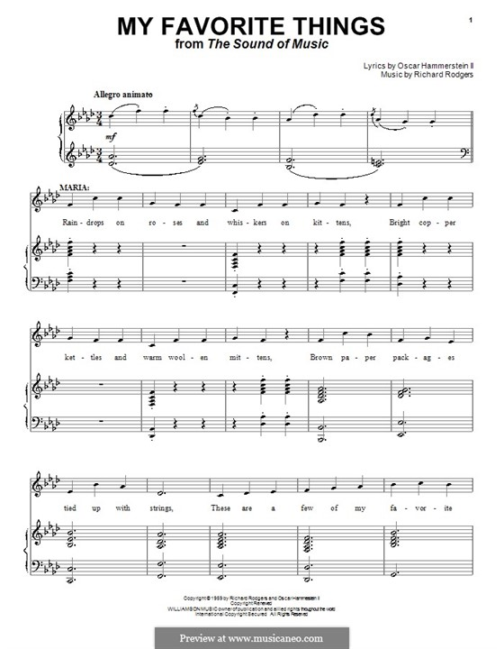 My Favorite Things (from The Sound of Music): For voice and piano by Richard Rodgers