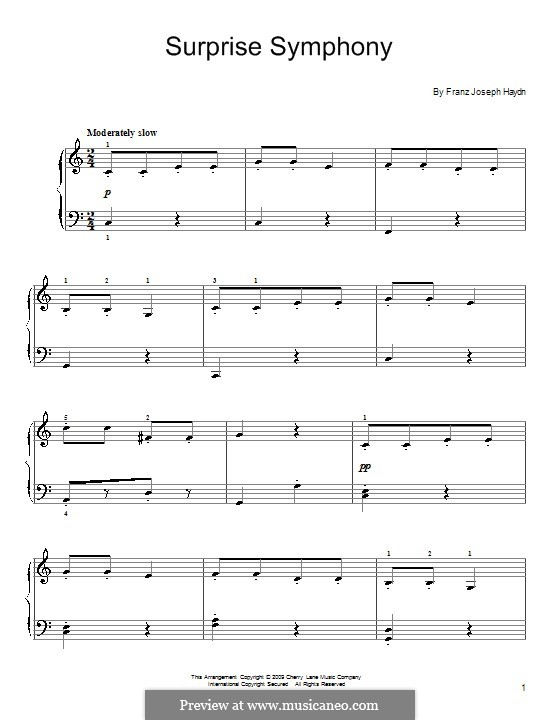 Movement II: Theme, for piano (with fingering) by Joseph Haydn