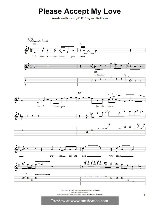 Please Accept My Love: For guitar with tab by Saul Bihari