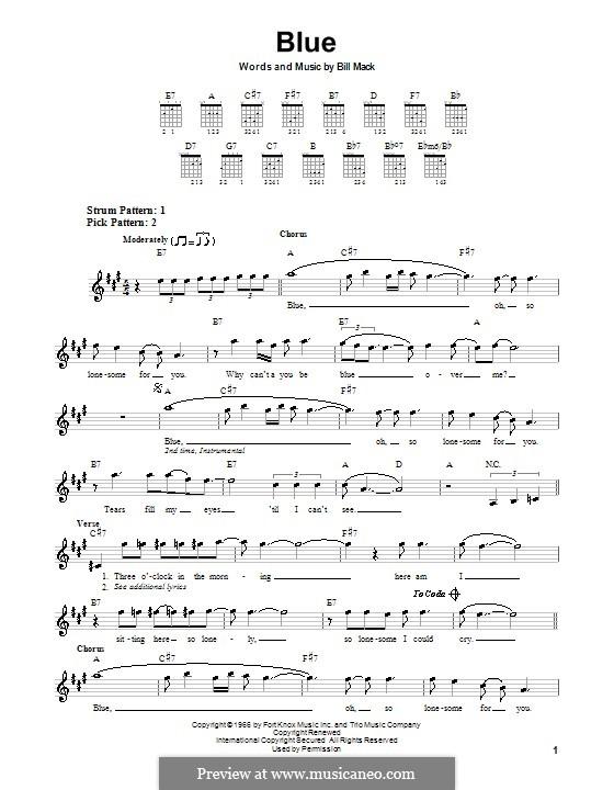 Blue (LeAnn Rimes): For guitar (very easy version) by Bill Mack