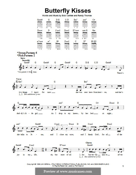 Butterfly Kisses: For guitar (very easy version) by Randy Thomas