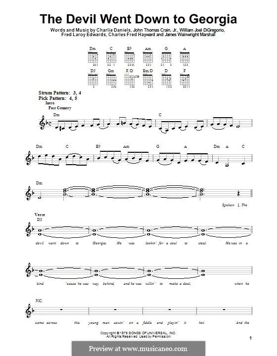 The Devil Went Down to Georgia (Charlie Daniels Band): For guitar (very easy version) by Charles Fred Hayward, Charlie Daniels, Fred Laroy Edwards, James Wainwright Marshall, John Thomas Crain Jr., William Joel DiGregorio