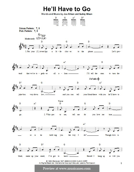 He'll Have To Go (Jim Reeves): For guitar (very easy version) by Audrey Allison, Joe Allison
