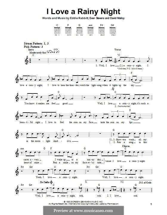 I Love a Rainy Night (Eddie Rabbitt): For guitar (very easy version) by David Malloy, Even Stevens