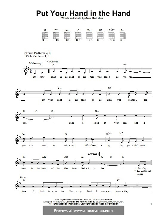 Put Your Hand in the Hand (Ocean): For guitar (very easy version) by Gene MacLellan
