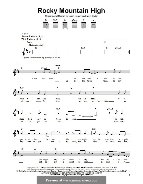 Rocky Mountain High By J Denver M Taylor Sheet Music On Musicaneo