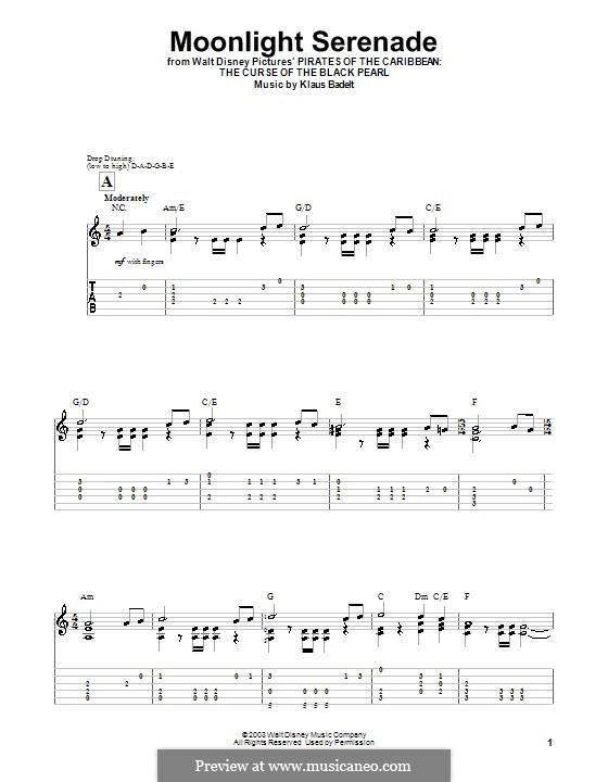Moonlight Serenade: For guitar (very easy version) by Klaus Badelt