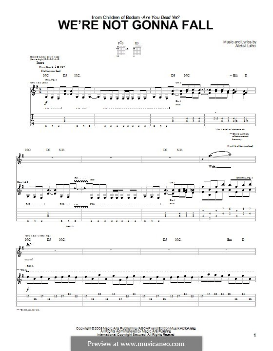We're Not Gonna Fall (Children of Bodom): For guitar with tab by Alexi Laiho
