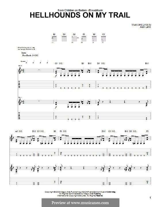 Hellhounds on My Trail (Children of Bodom): For guitar with tab by Alexi Laiho