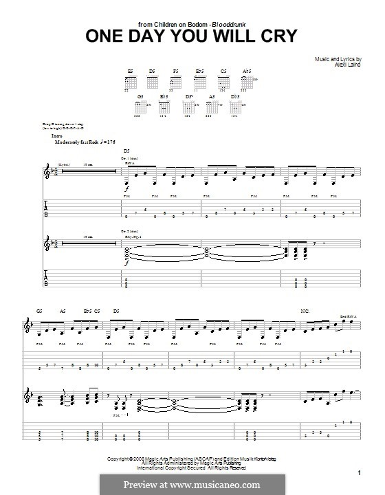 One Day You Will Cry (Children of Bodom): For guitar with tab by Alexi Laiho