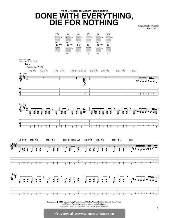 Done with Everything, die for Nothing (Children of Bodom): For guitar with tab by Alexi Laiho