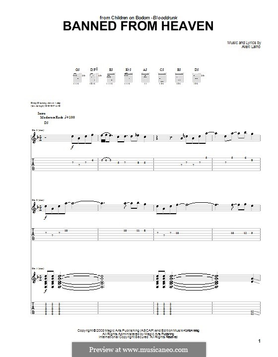 Banned from Heaven (Children of Bodom): For guitar with tab by Alexi Laiho