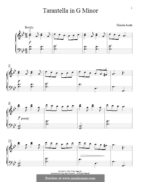 Tarantella in G Minor: For piano by Glenda Austin