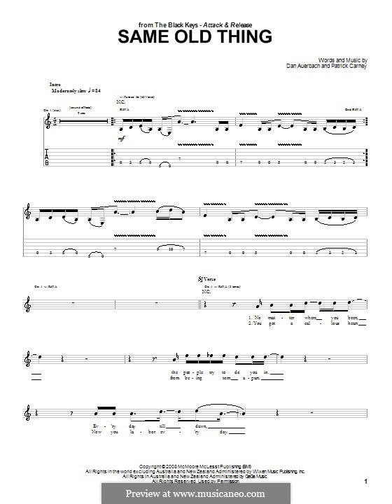 Same Old Thing (The Black Keys): For guitar with tab by Daniel Auerbach, Patrick Carney